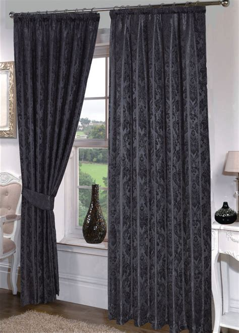 seattle ready made black pencil pleat curtains ebay