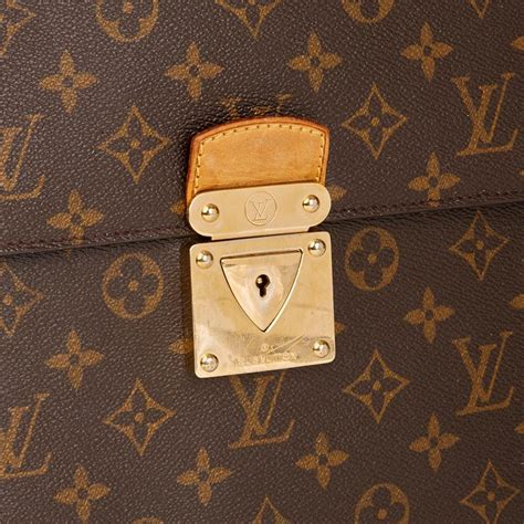 louis vuitton brown monogram coated canvas robusto briefcase  stdibs