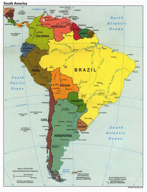 large detailed political map  south america south