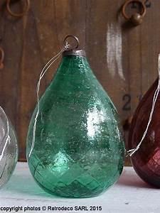 Boule De Noel Verte : boule de no l ovale verre recycl verte d co ethnique chic alv4942g ~ Teatrodelosmanantiales.com Idées de Décoration