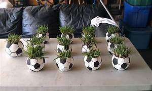Soccer ball centerpieces, Glass small round fish bowl