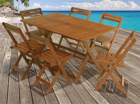 table pliante jardin salon de jardin en bois exotique tropical marron acajou table pliante 135 x 80 x h74 cm 6