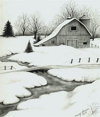 Pencil Drawing Winter Landscape Drawings Barn Nature