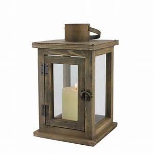 medium rustic wood lantern