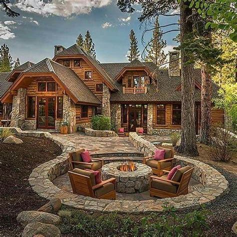 Backyard Log Cabin by Home Gorgeous Cabin With Seating And Firepit In