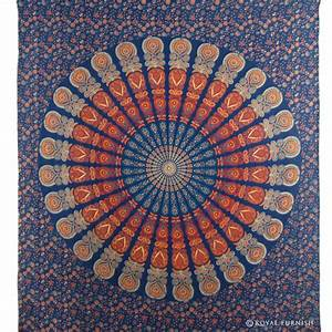 Blue indian floral mandala dorm room decor hippie tapestry