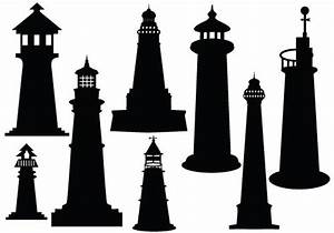 Ideal lighthouse silhouette vector download silhouette ...