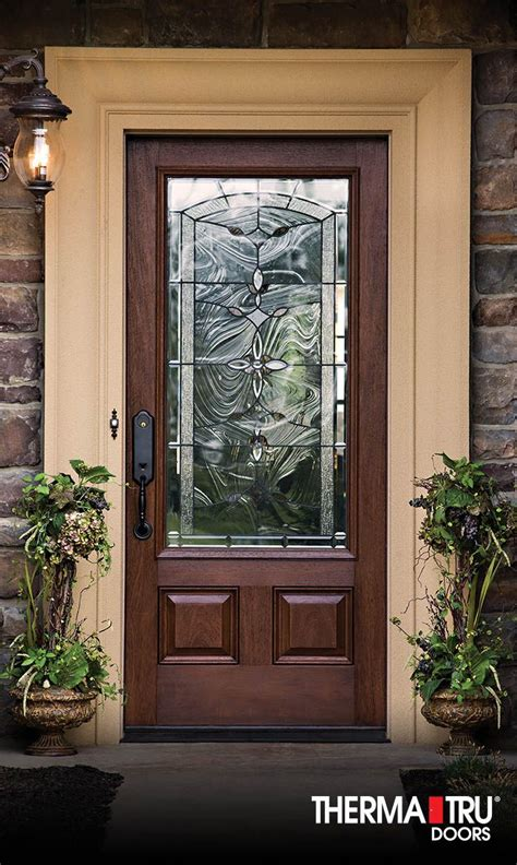 Glass Entry Doors For Home by Therma Tru Classic Craft Mahogany Collection Fiberglass