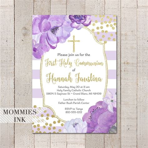 Lavender and Gold First Holy Communion Invitation