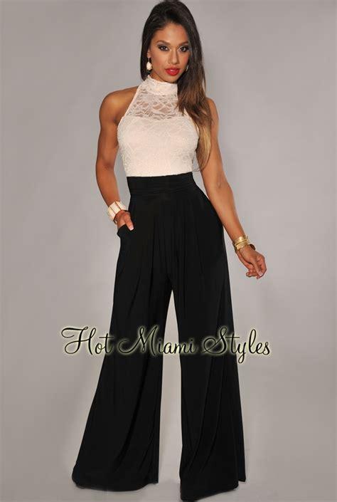 black wide leg jumpsuit ivory lace black wide leg jumpsuit