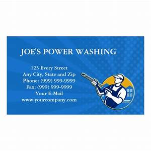 Power washing pressure water blaster worker double sided for Pressure washing business card templates