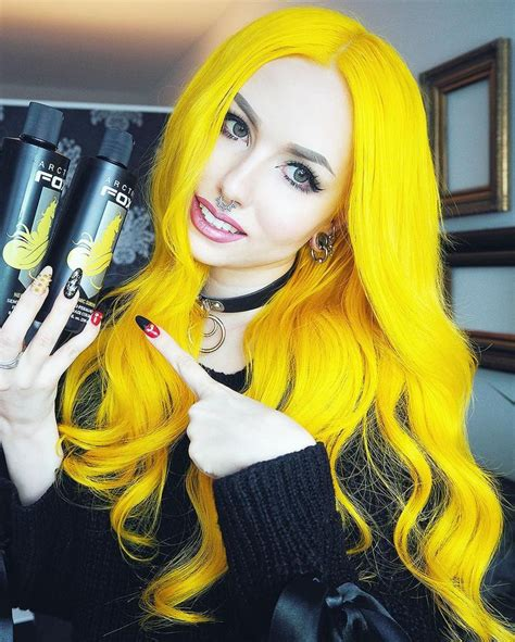 Black And Yellow Hair Color by Arctic Fox Cosmic Mixed With Neon Moon Yellow