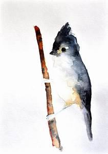 Titmouse - ORIGINAL Watercolor painting / Abstract bird ...