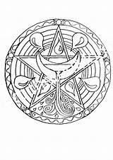 Coloring Wiccan Pages Pagan Printable Adults Getdrawings Getcolorings Colorings Pentacle sketch template