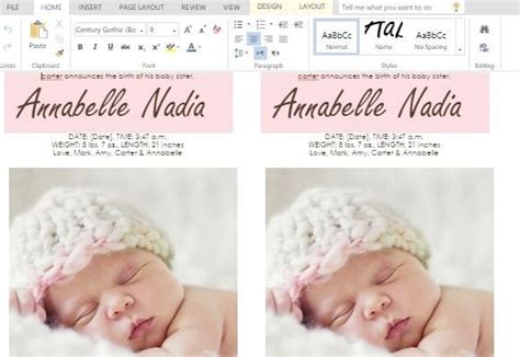 child birth announcement cards  word