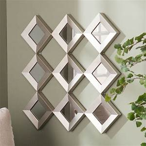 harper blvd diamante mirrored squares wall sculpture With mirrored wall decor