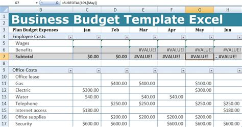 business budget template excel  excel spreadsheets