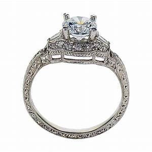 vintage inspired halo engagement ring 18k white gold With antique inspired wedding rings