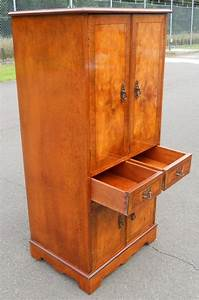 Antique, Style, Yew, Tall, Narrow, Cupboard, Cabinet, Lp, Storage