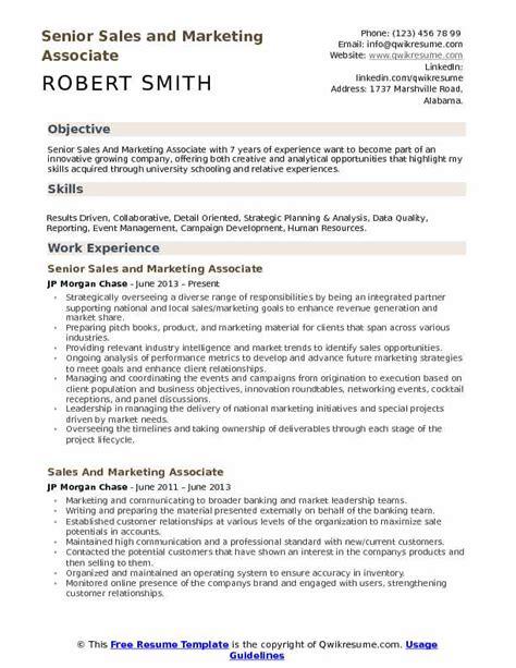 sales and marketing associate resume sles qwikresume