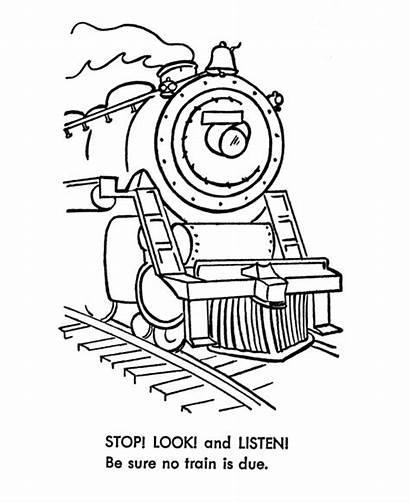 Coloring Train Safety Sheets Listen Stop Railroad