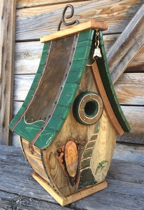 unique copper  barnwood art birdhouse reclaimed holiday