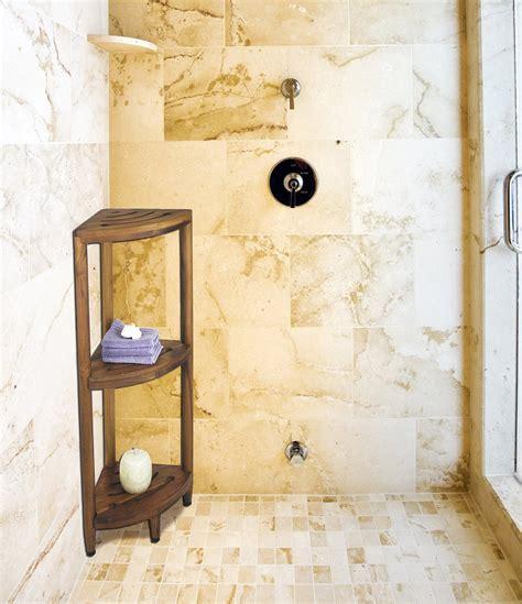 Teak Bath Caddy Australia by Corner Dark Brown Teak Shower Caddy With Three Racks On