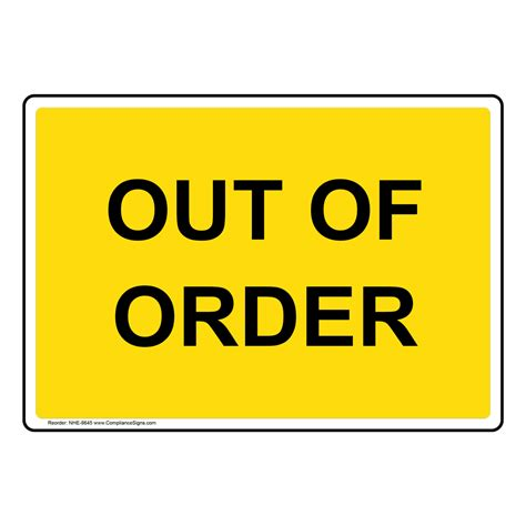 Out Of Order Sign Nhe8645 Restroom Closed  Out Of Order