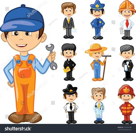 12202 different professions clipart characters different professions stock vector