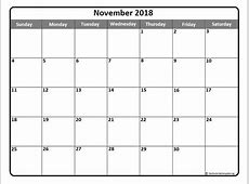 November 2018 Calendar Template calendar monthly printable