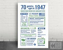 The Year 1947, Personalized 70th Birthday PRINTABLE Sign ...