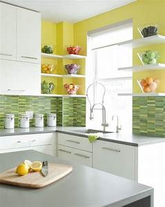 cheerful summer interiors 50 green and yellow kitchen With kitchen colors with white cabinets with murano glass wall art