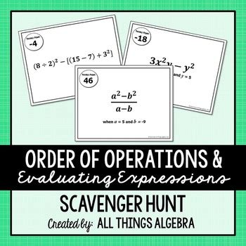 order of operations and evaluating expressions worksheet order of operations and evaluating expressions scavenger