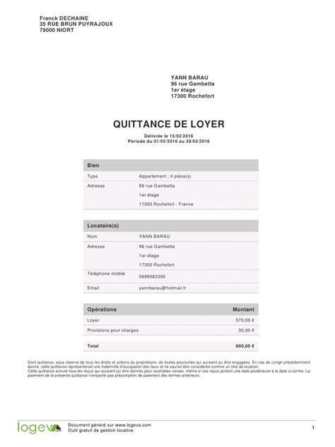 modèle quittance de loyer word exemple texte quittance document