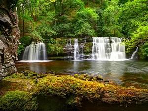 Nature, Green, Cascading, Waterfall, Hd, Wallpaper, For, Desktop