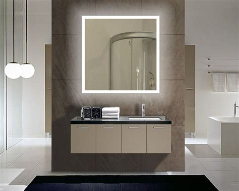Cool Modern Bathroom Mirrors by Backlit Lighted Mirror Size H 36 X W 36 X D 2 Inches This