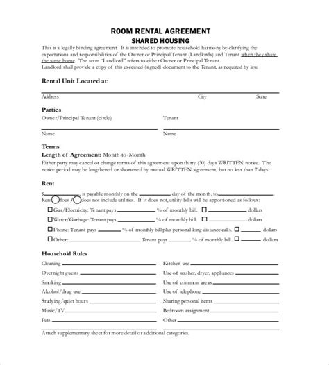 rental agreement template   word excel