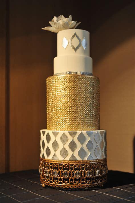 gold  silver metallic wedding cake elizabeth anne