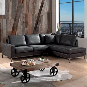 le canape d39angle vintage en imitation cuir vieilli grand With tapis de marche avec canapé tissu imitation cuir vieilli
