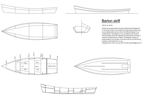 Wood Boat Drawing by At Last Construction Drawings For The Barton Skiff