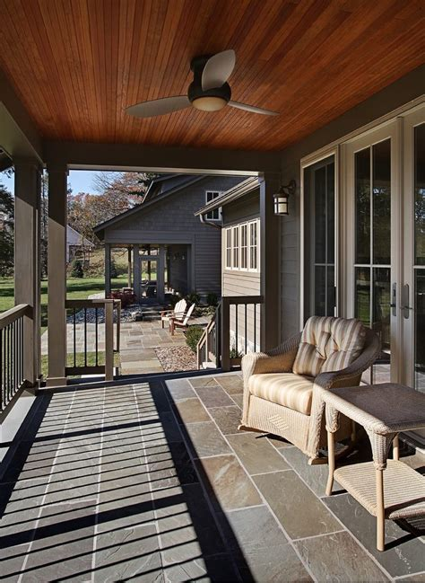 stained cedar ceiling porch traditional with furniture