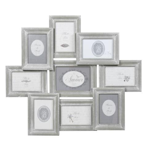 cadre photo 9 vues en bois gris 56 x 65 cm colette maisons du monde