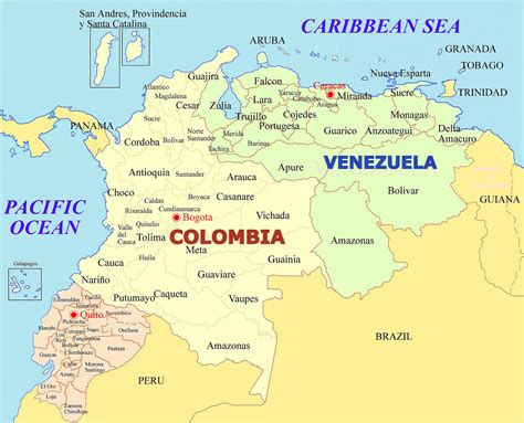 Venezuela and Colombia Map