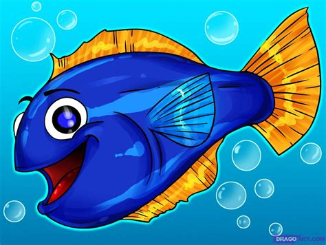 draw  cartoon fish step  step cartoon animals