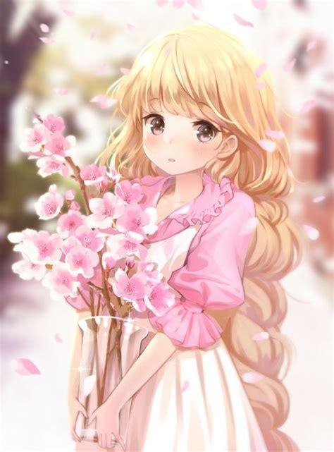 original miyaza long hair blonde cute anime girl flower