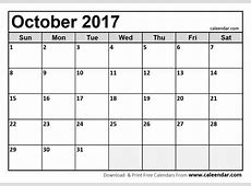 October 2017 Printable Calendar calendar template excel