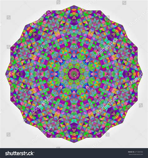 Abstract Flower Shapes by Colorful Circle Kaleidoscope Backdrop Mosaic Abstract