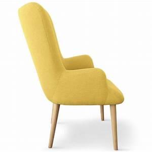 Fauteuil Scandinave Jaune : fauteuil scandinave en tissu northwest 104cm jaune ~ Melissatoandfro.com Idées de Décoration