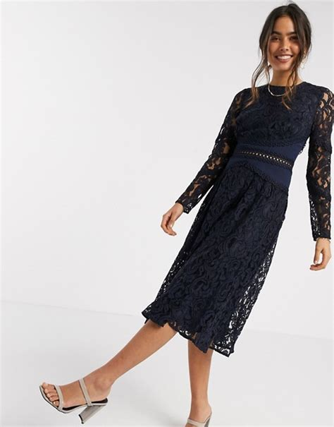 Asos Design Long Sleeve Midi Prom Dress In Lace With