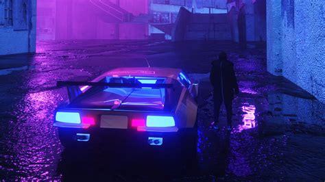 wallpaper  neon car silhouette street